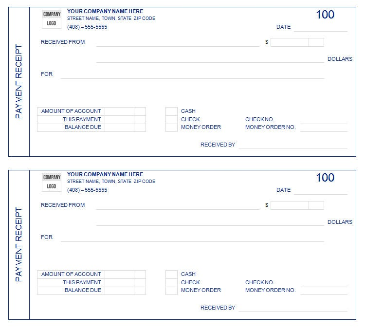 editable payment receipt template .