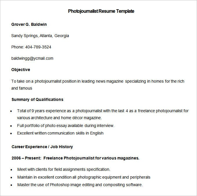 sample photojournalist resume template download