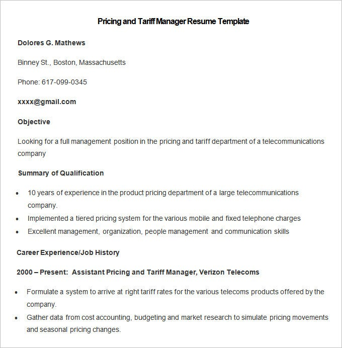sample pricing and tariff manager resume template free download
