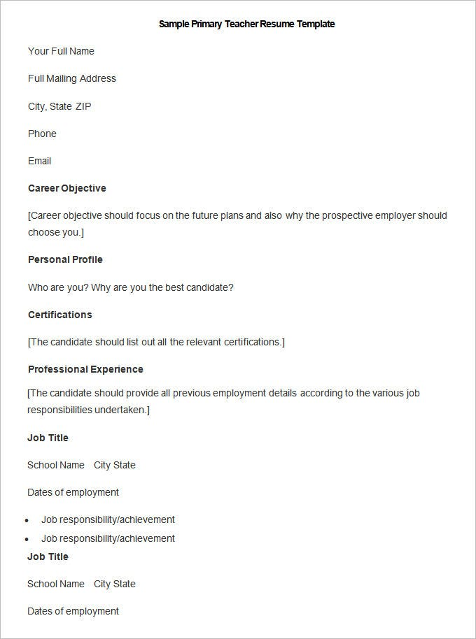 this is a sample cv for teachers in word format is available as free download and it is in word format it features career objective personal profile - Full Resume Sample