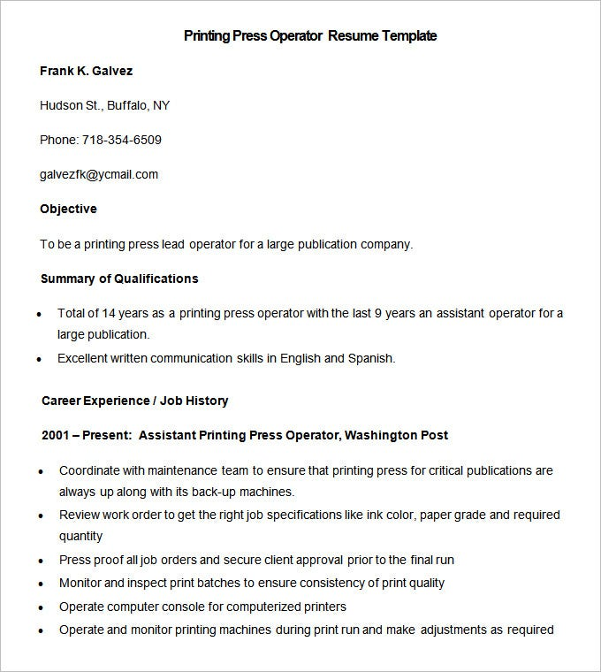 sample printing press operator resume template free download - Print Resume For Free