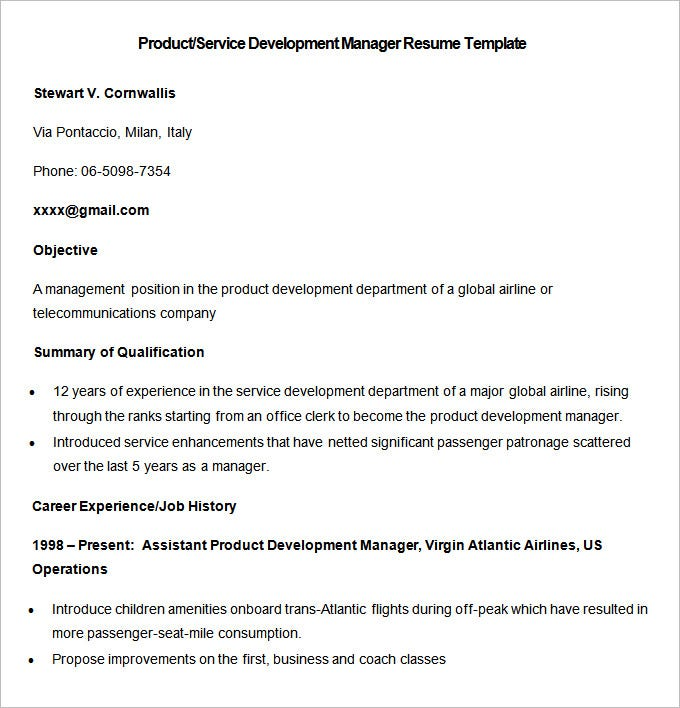 sample product service development manager resume template download
