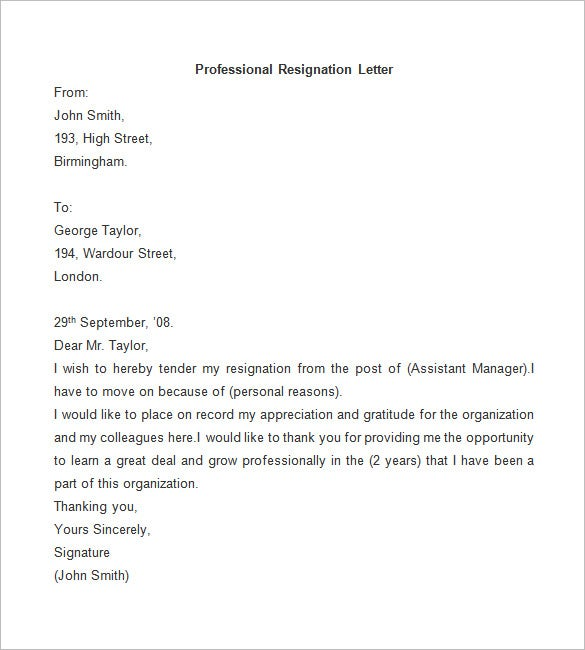 Resignation Letter Template – 25+ Free Word, PDF Documents Download ...