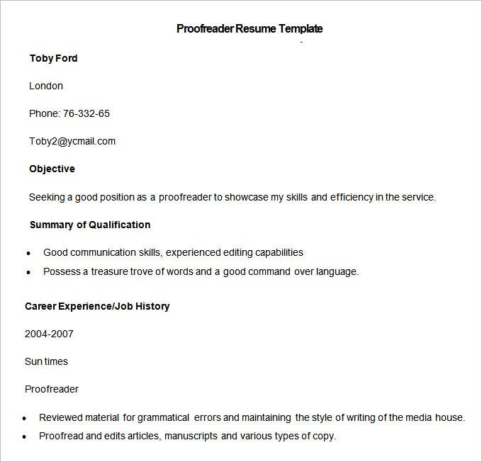 sample proofreader resume template download