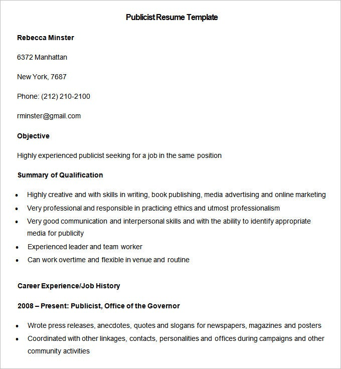 sample publicist resume template download