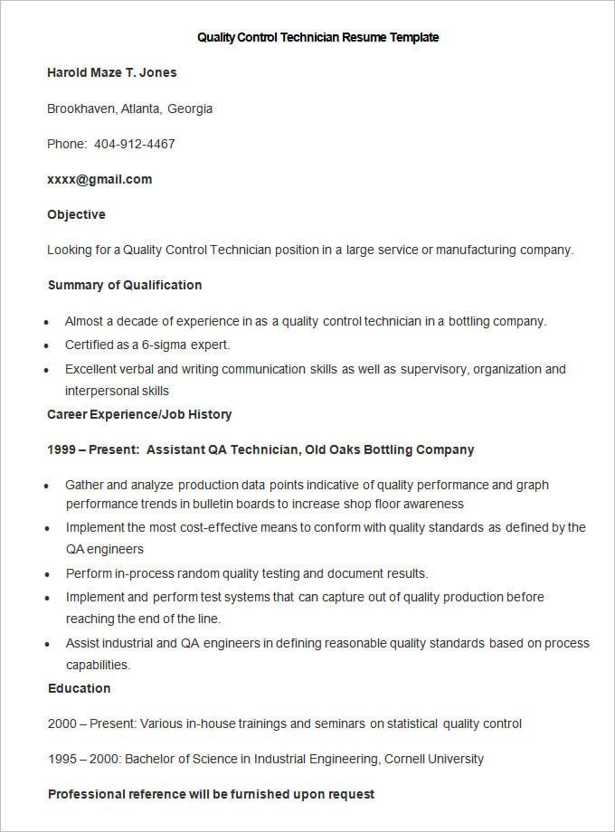 Quality Control Technician Resume,Quality Control Technician ...