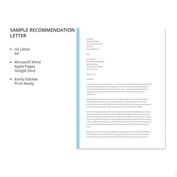 sample recommendation letter template