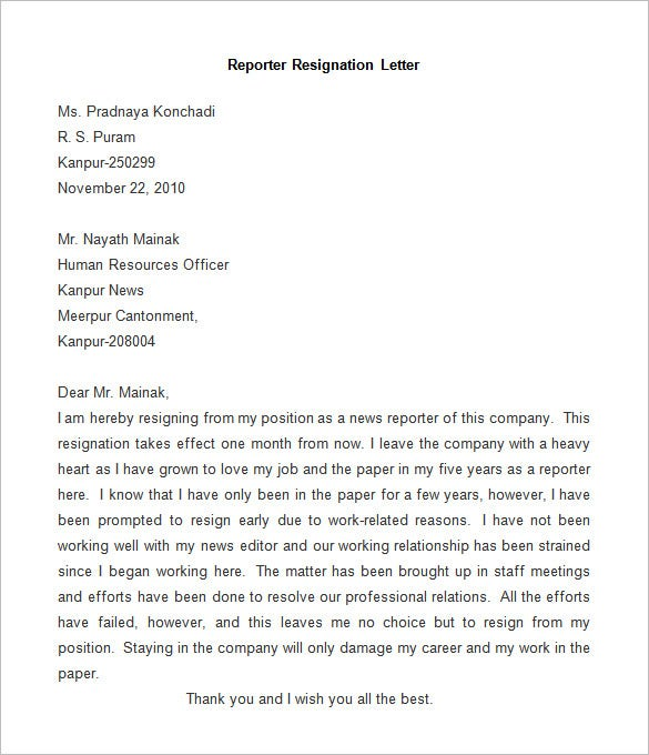 Resignation Letter Template - 25+ Free Word, PDF Documents ...