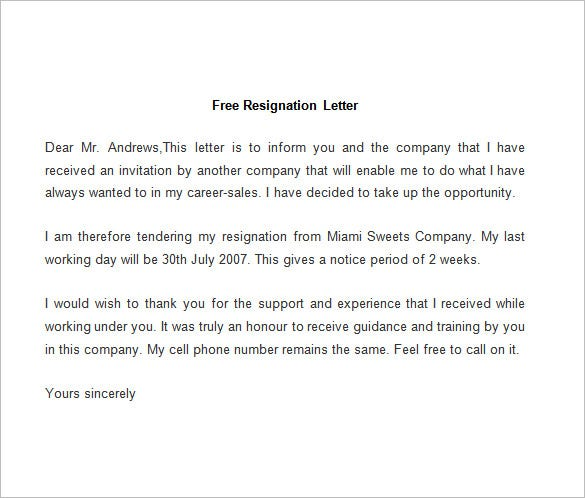resignation letter template      free word  pdf documents    sample resignation letter