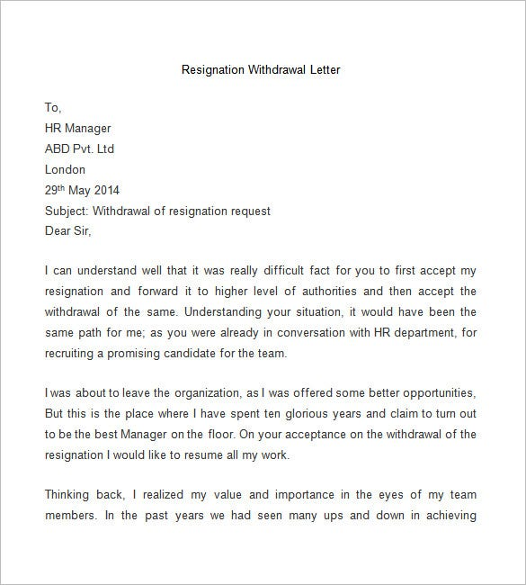 Resignation Letter Template - 25+ Free Word, PDF Documents Download ...
