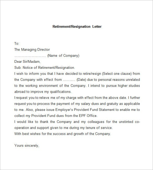 resignation letter template      free word  pdf documents    sample retirement resignation letter
