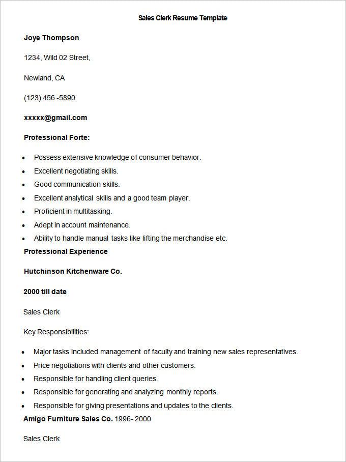 Retail Sales Clerk Resume – Retail Clerk Resume