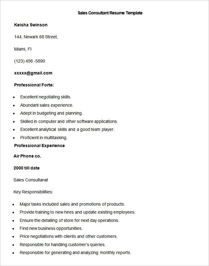Sales Resume Template   Free Samples Examples Format