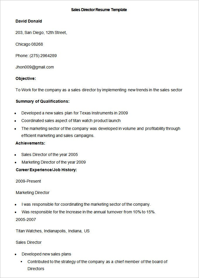 sample sales director resume template1