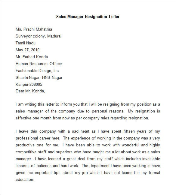 format of a resignation letter from a company