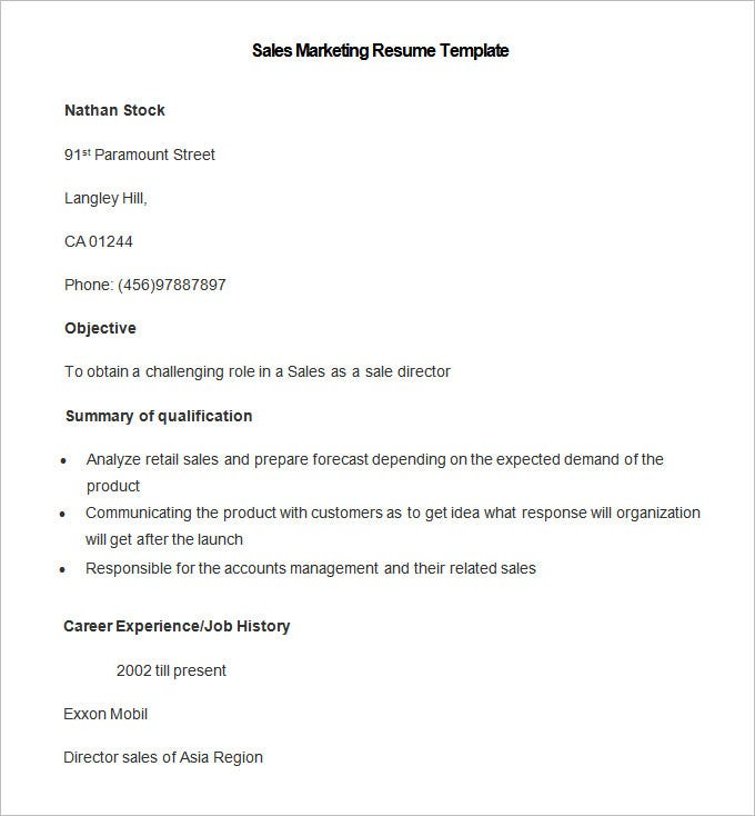 Sample Sales Marketing Resume Template. Free Download