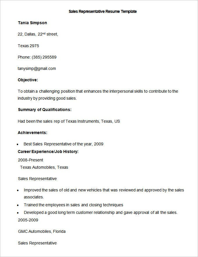 Sample Sales Representative Resume Template