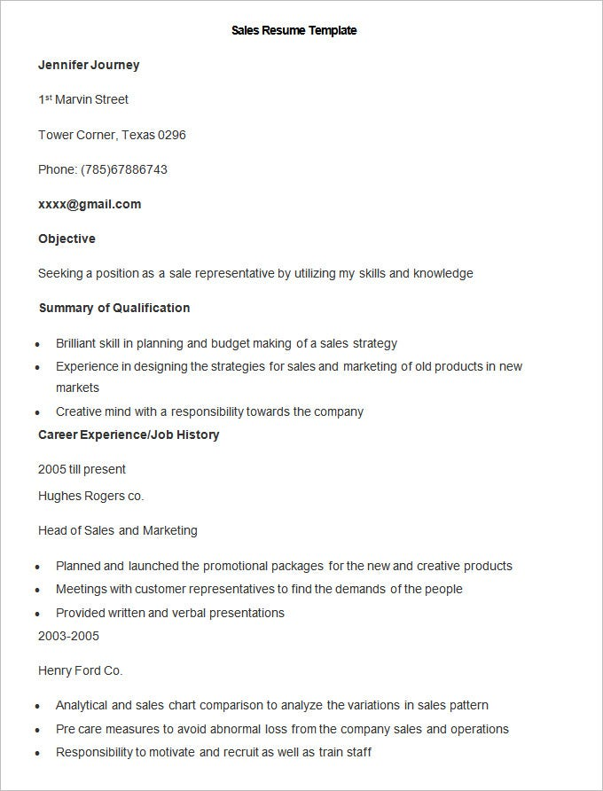 sample sales resume template11