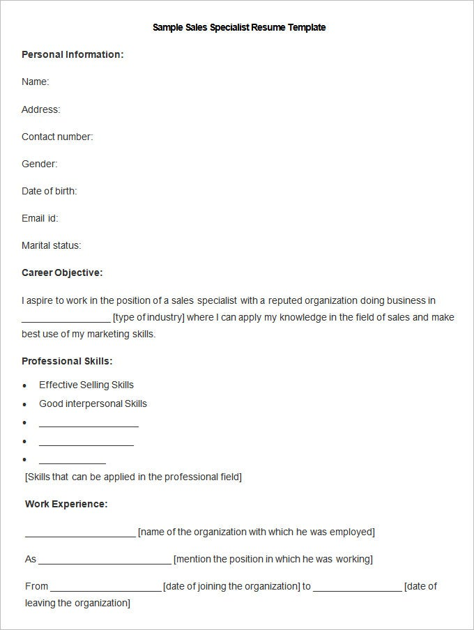 this free software sales specialist resume template presents a standard framework covering all the major points to be featured on an appropriate resume