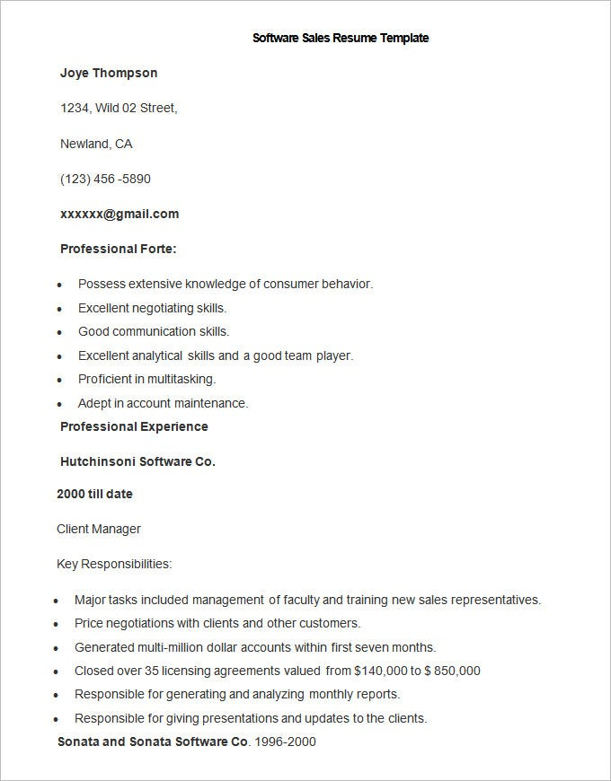 Sample Software Sales Resume Template  Free Professional Resume Templates Microsoft Word