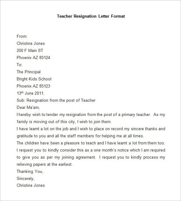 Sample Resignation Letter Sample Format