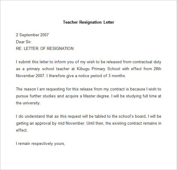 example of resignation letter for teachers resignation letter template 25 free word pdf documents 21581 | Sample Teacher Resignation Letter.