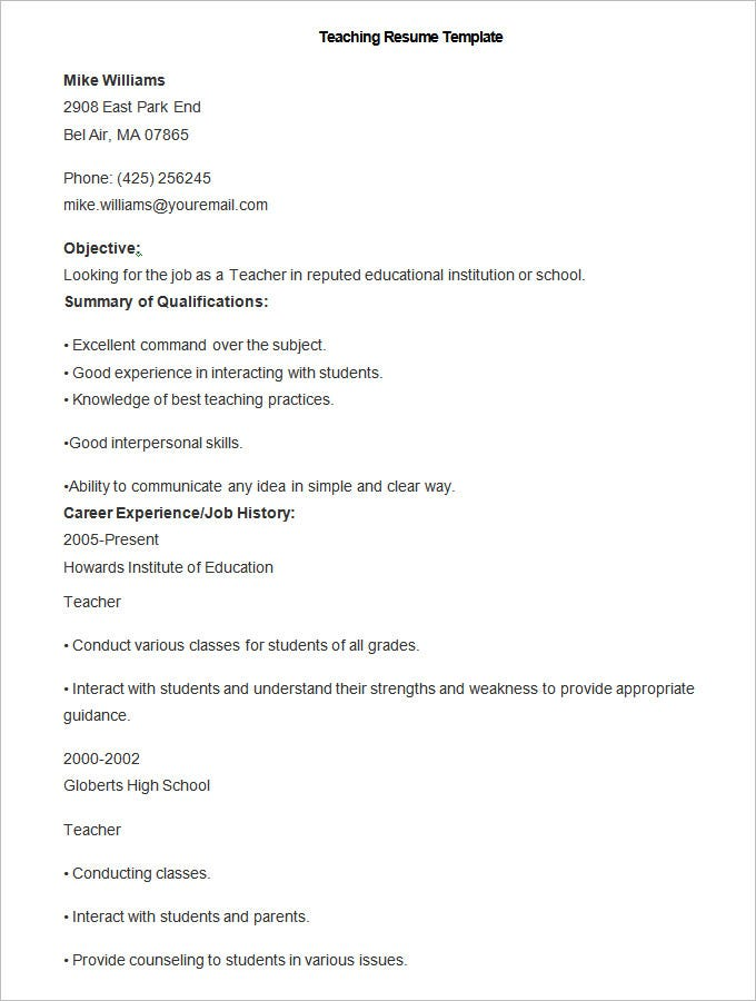 sample teaching resume template - Teacher Resumes Samples