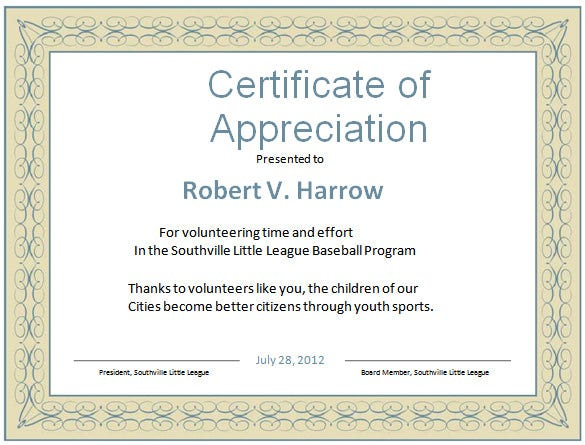 sample volunteer appreciation certificate template