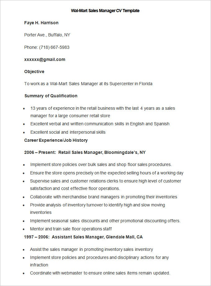 sample wal mart sales manager cv template