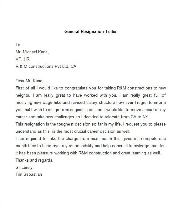 Sample-of-General-Resignation-Letter. Offer Withdrawal Letter Template on employee job, employer job, temporary position, simple employee, for temp position, decline job, executive job, executive employment, business purchase, counter proposal,