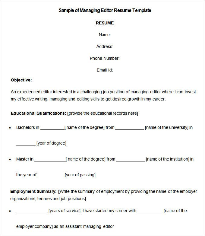 Sample Of Managing Editor Resume Template. Free Download