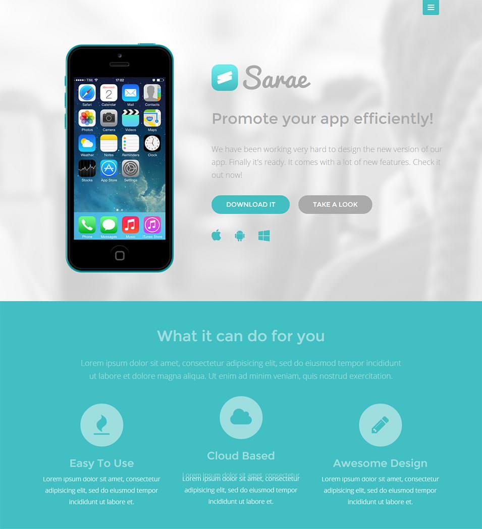 sarae responsive app landing page