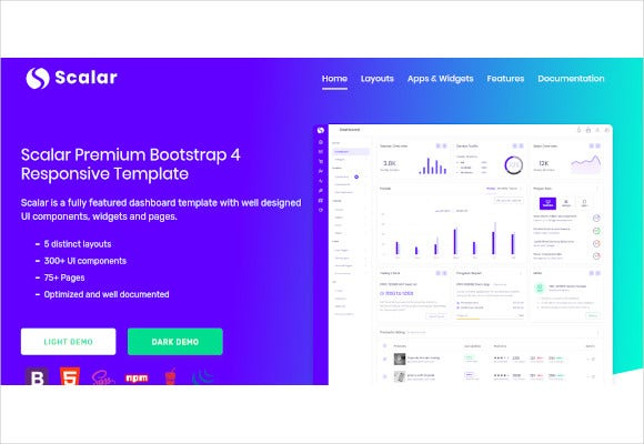 scalar bootstrap admin template