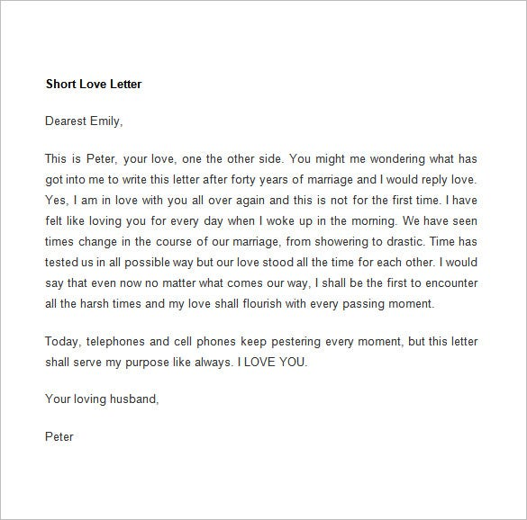 short love letter template