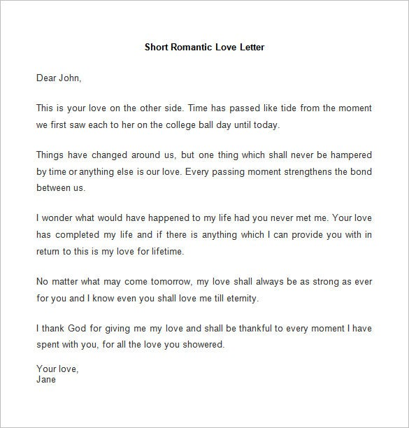 short romantic love letter template