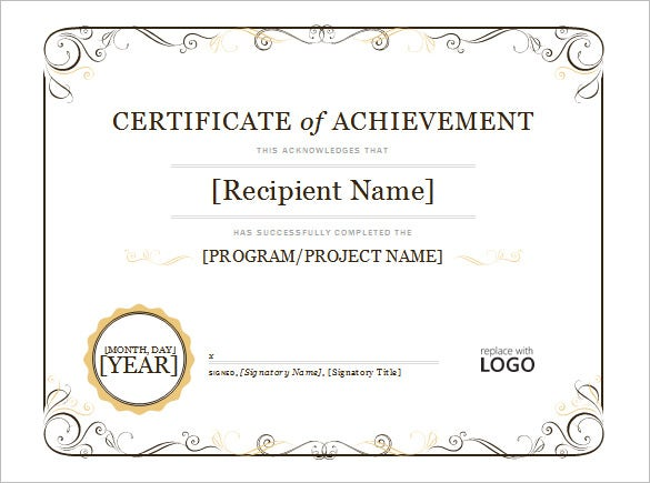 simple certificate of achievement for word