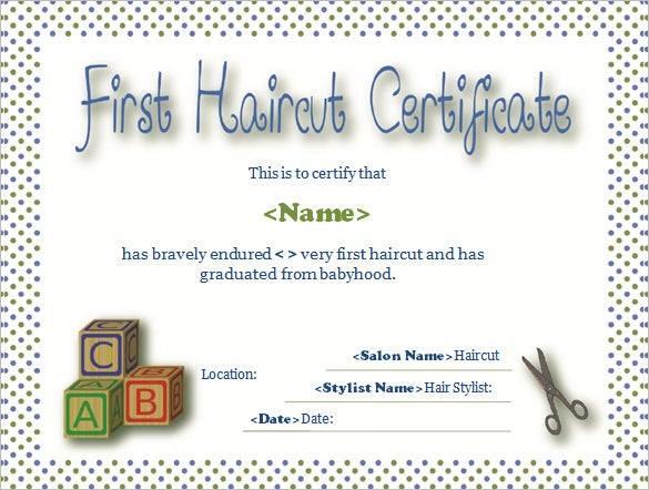 simple first hair cut certificate template