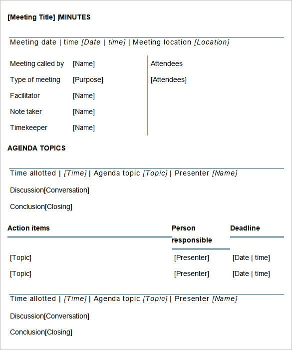 meeting minutes template  25  free samples  examples