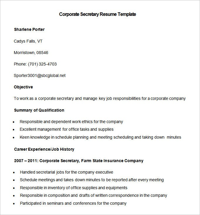 smaple corporate secretary resume template download