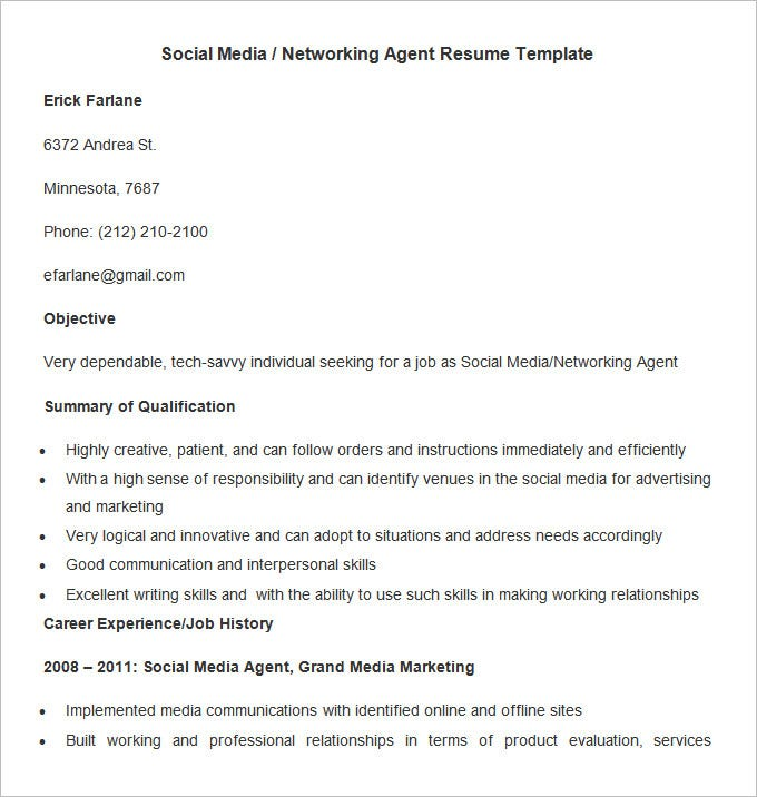 Sample Social Media Networking Agent Resume Template  Social Media Resume Examples