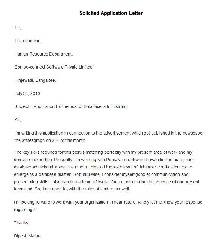 solicited application letter definition Example of solicited application letter and unsolicited application letter argumentative essay on abortion introduction research paper topics health psychology.