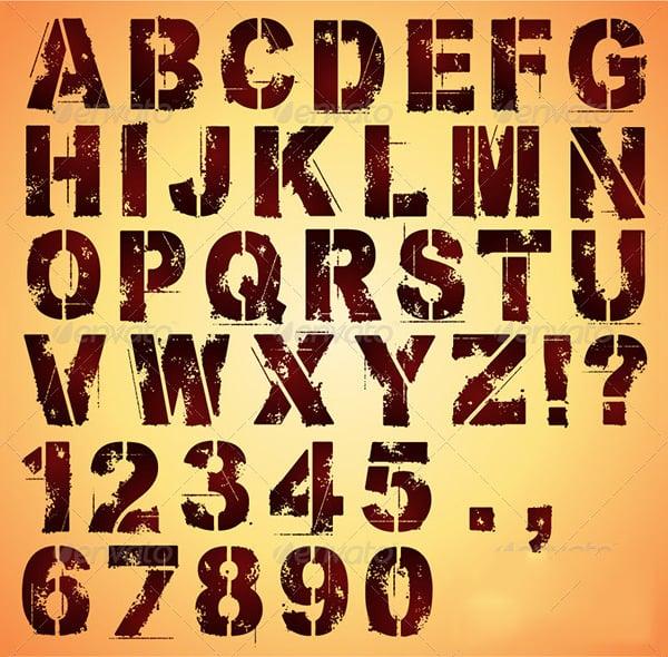 Alphabet stencils free premium templates stencil letters and numbers spiritdancerdesigns Images