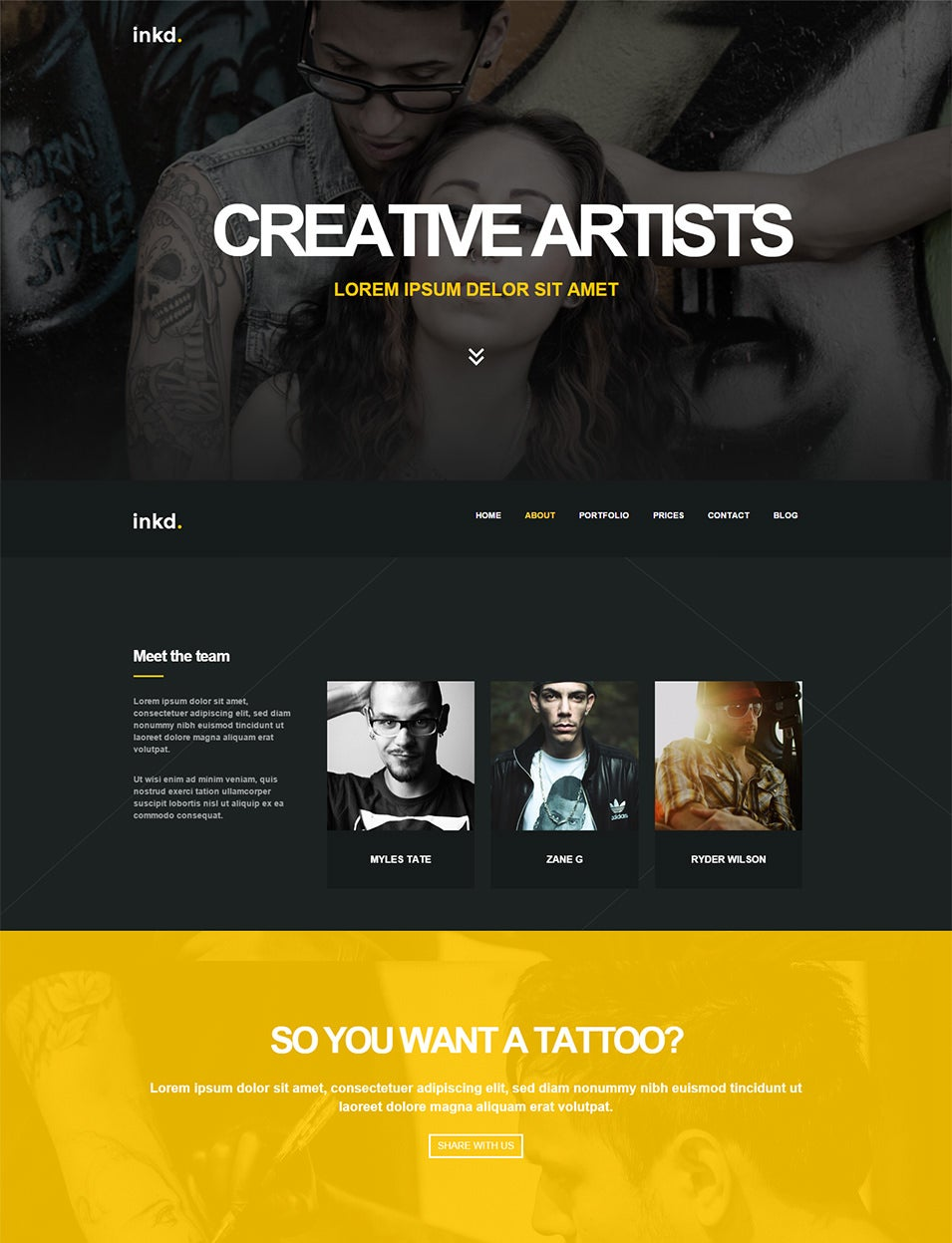 Tattoo Studio One-Page Wordpress Theme