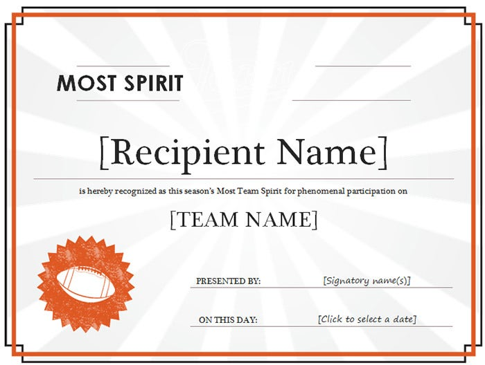 team spirit award certificate