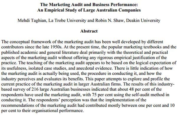 the marketing audit and business performance
