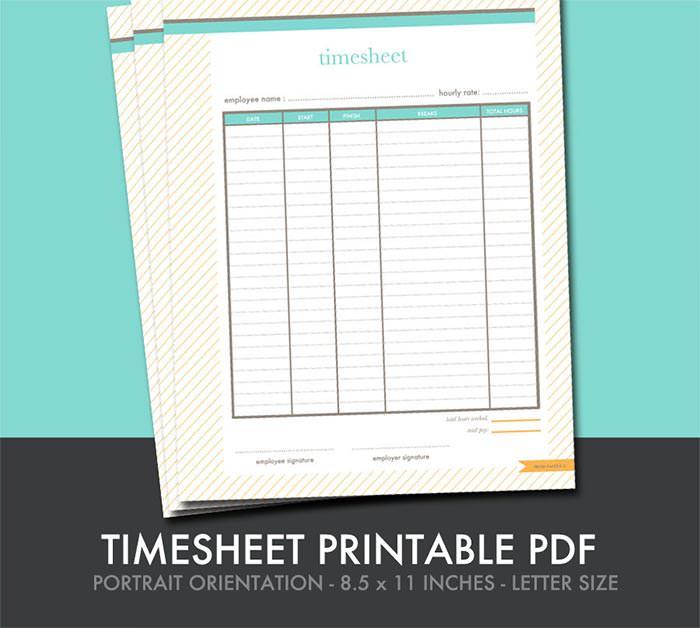 timesheet printable small business