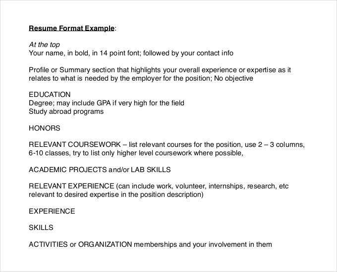 sample top best resume format