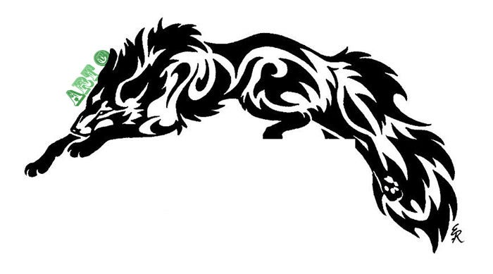 tribal leaping fox tattoo