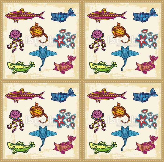vector sea animals in australian aboriginal style