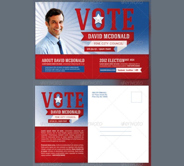 voting election postcard maling template